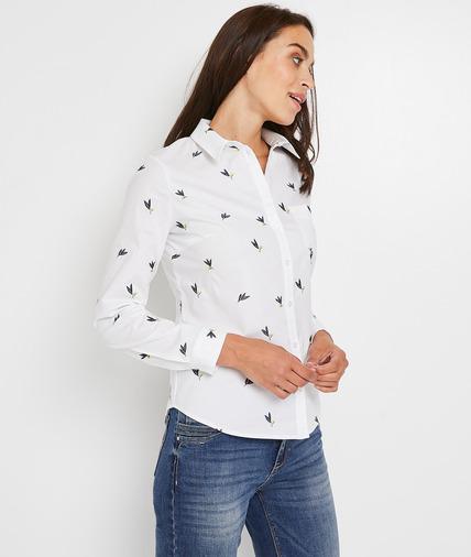 Chemise blanche brodée femme JAUNE