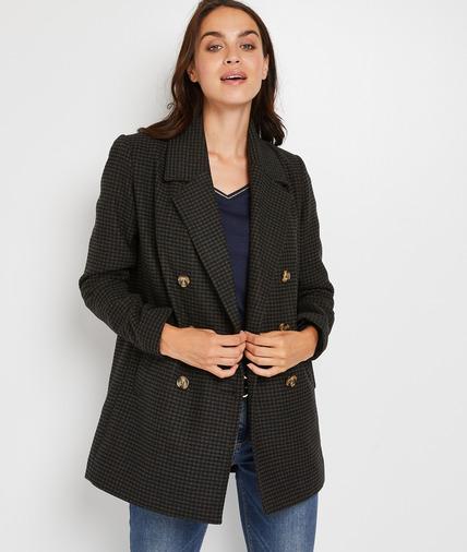 Manteau à carreaux femme NOIR