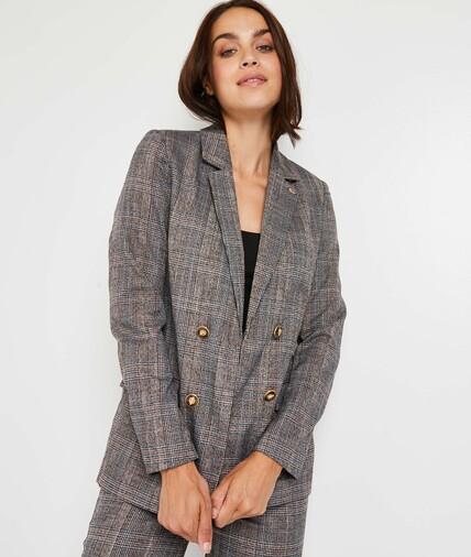 Veste de tailleur carreaux femme GRIS