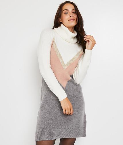 Robe pull col roulé femme GRIS