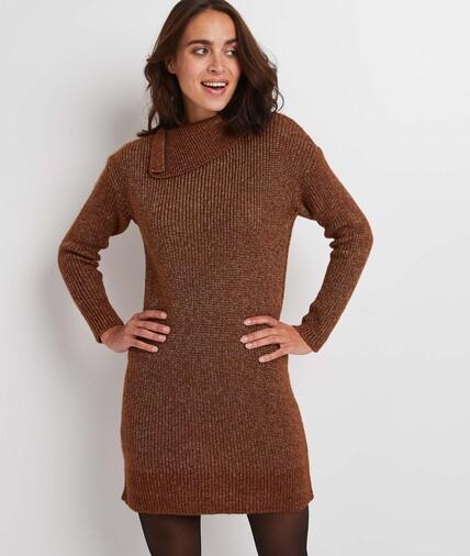 Robe pull marron femme CAMEL