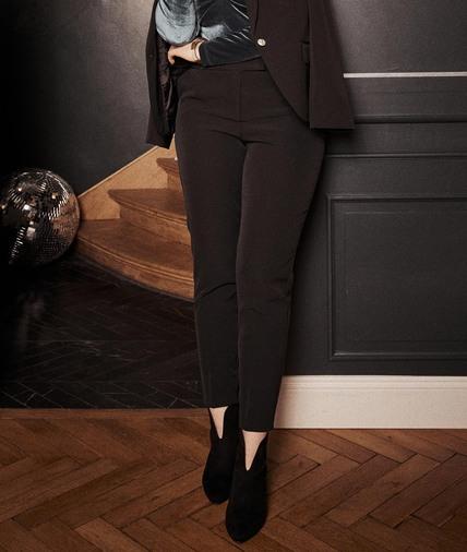 Pantalon cigarette noir fluide femme NOIR
