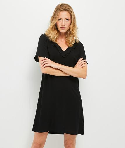 Robe t-shirt noire à volants femme NOIR