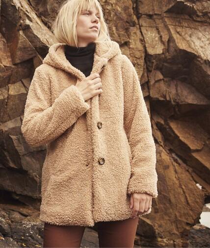 Manteau fausse fourrure à capuche femme BEIGE