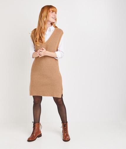 Robe pull sans manche femme CAMEL