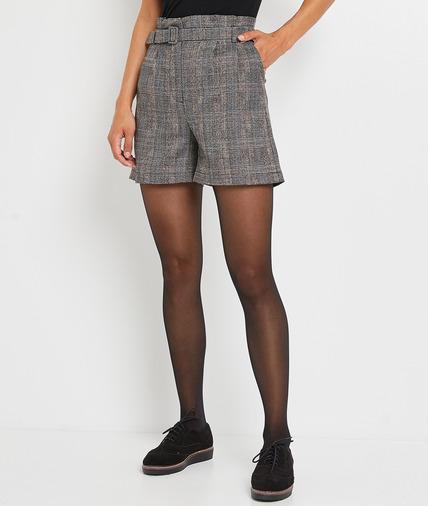 Short carreaux femme GRIS