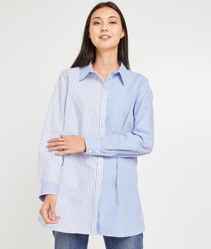Chemise oversize à rayures femme BLEU