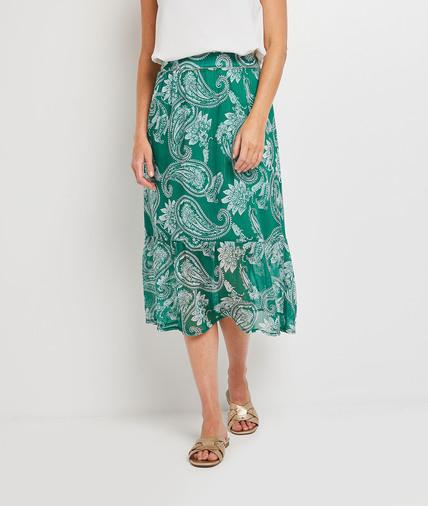 Jupe mi-longue verte femme VERT