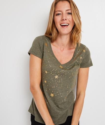 T-shirt kaki à étoiles femme KAKI