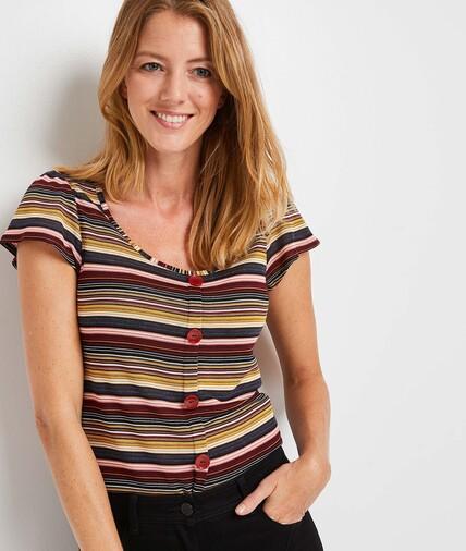 T-shirt rayé multicolore femme BORDEAUX