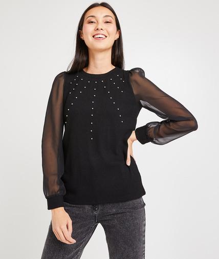 T-shirt noir à perles femme NOIR