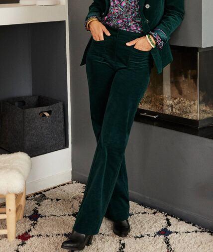 Pantalon velours vert femme VERT