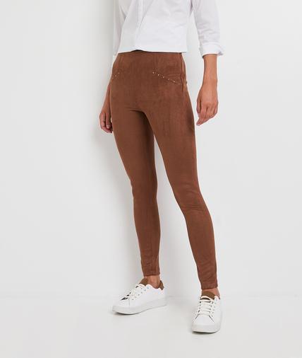 Legging suédine marron femme MARRON