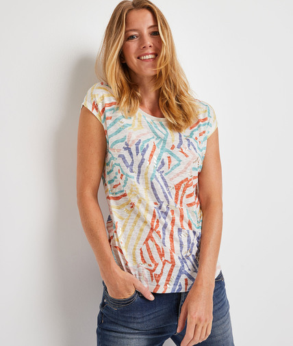 T-shirt coloré femme BLANC