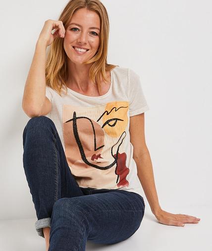 T-shirt beige print visage femme BEIGE
