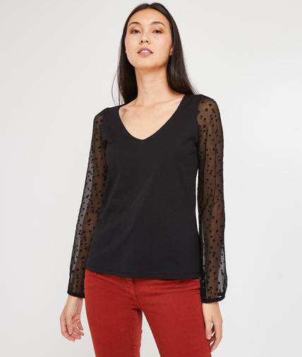 T-shirt noir manches plumetis femme NOIR