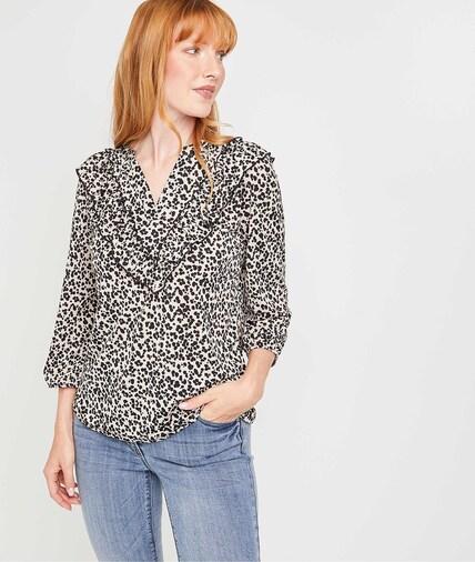 Tshirt imprimé léopard femme BEIGE