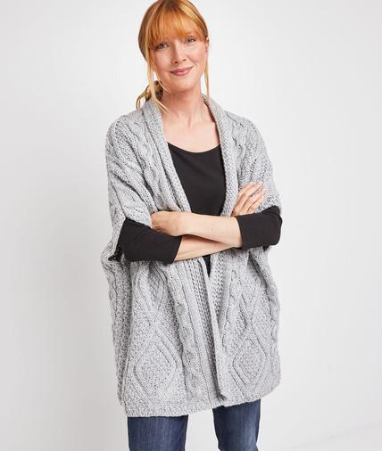 Gilet tricoté torsadé femme GRIS CLAIR