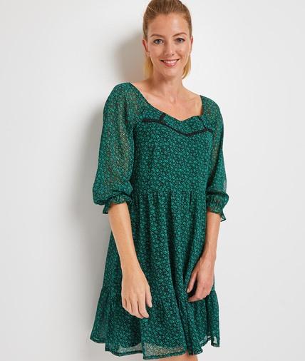 Robe courte verte fleurie femme VERT
