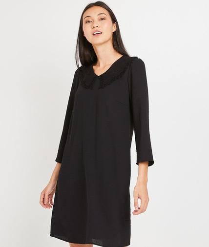 Robe noire manches 3/4 femme NOIR