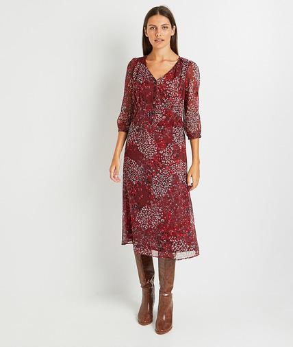 Robe longue imprimée femme BORDEAUX