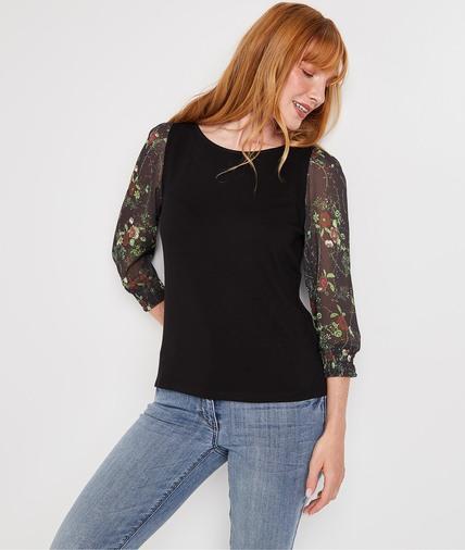 Tshirt manches imprimées fleurs femme NOIR
