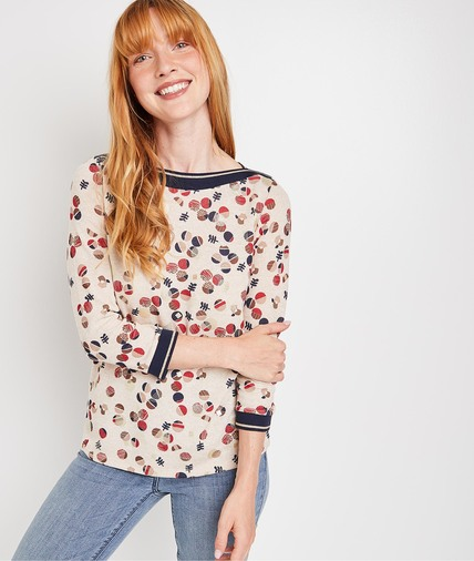 Tshirt imprimé bulles femme BEIGE