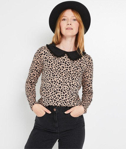 Tshirt léopard col claudine femme CAMEL