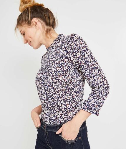 Tshirt imprimé fleuri femme MARINE
