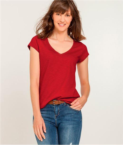 T-shirt femme col V avec broderie ROUGE CRAMOISI
