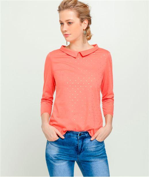 T-shirt femme imprimé col Claudine CORAIL