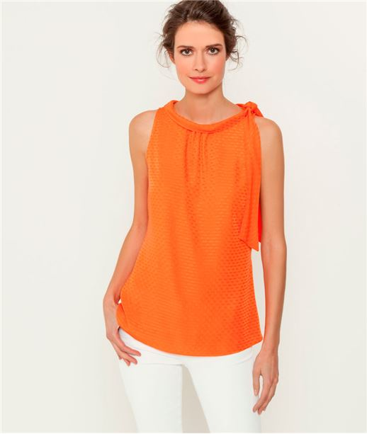 Chemisier femme col lavallière revers ORANGE CUIT