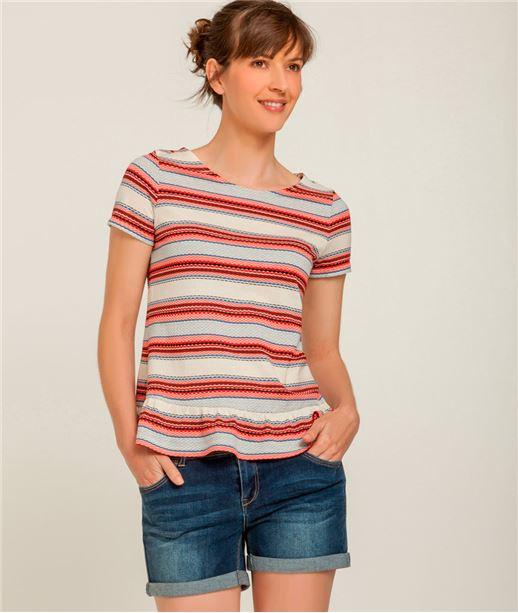 T-shirt femme bimatière rayé ROUGE