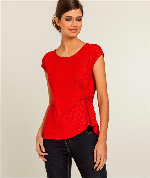 T-shirt femme irisé et noué ROUGE