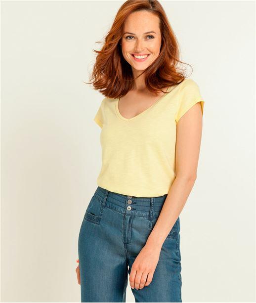 T-shirt femme col V manches courtes JAUNE