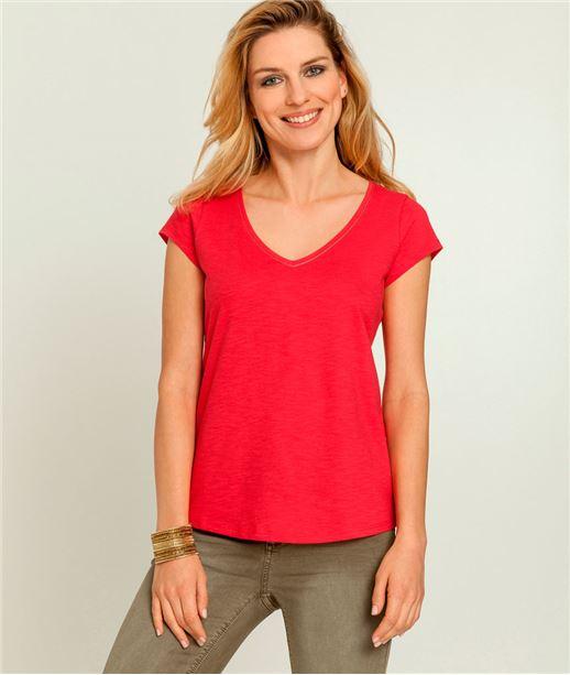 T-shirt femme col V manches courtes ROUGE