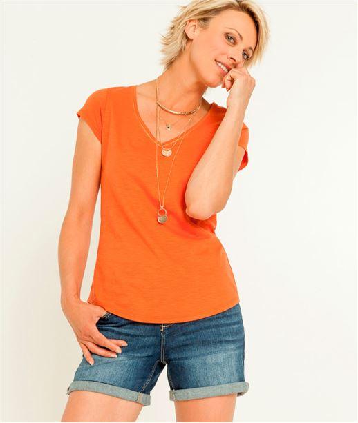 T-shirt femme col V manches courtes ORANGE