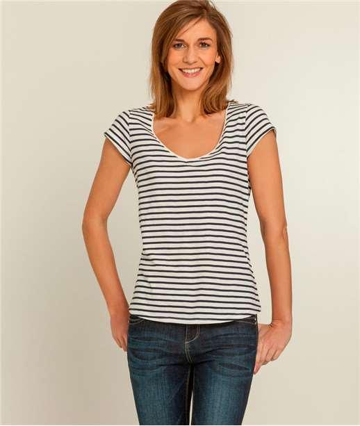 T-shirt femme imprimé col V BLANC