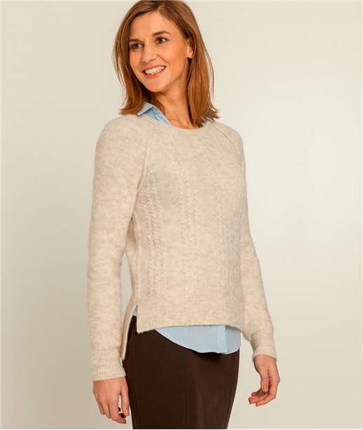 Pull femme torsadé avec laine BEIGE