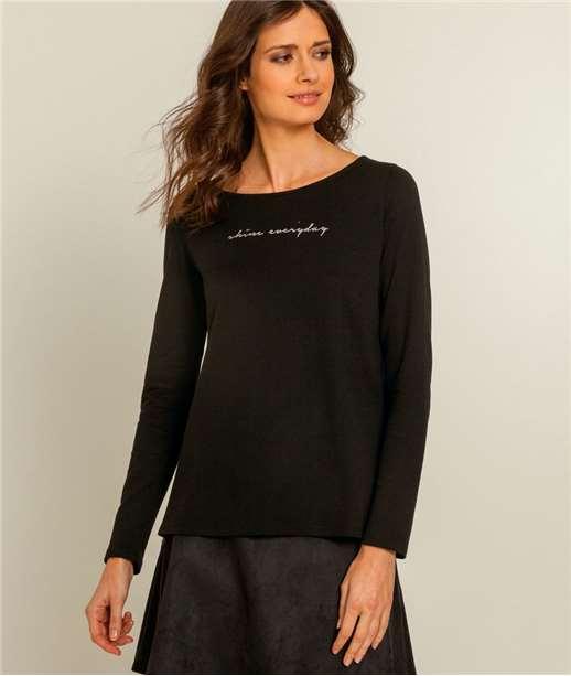 T-shirt femme bicolore plissé NOIR