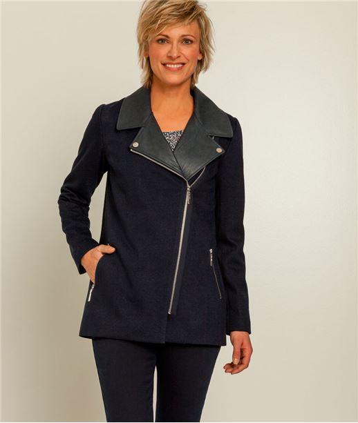 Manteau femme motard BLEU