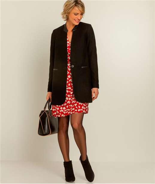 Manteau femme laine et détails fx cuir NOIR