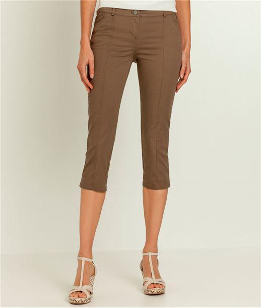 Pantalon femme corsaire TAUPE
