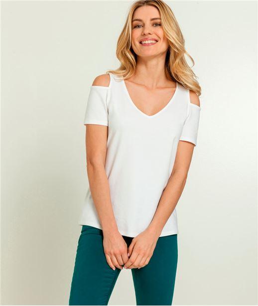 T-shirt femme epaules nues BLANC