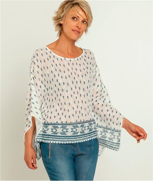 T-shirt femme poncho imprimé ECRU