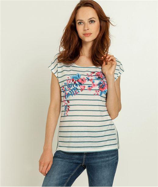 T-shirt femme marinière fleurie BLANC
