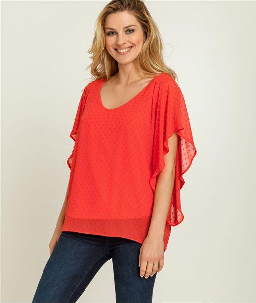 T-shirt femme 2 en 1 plumetis CORAIL