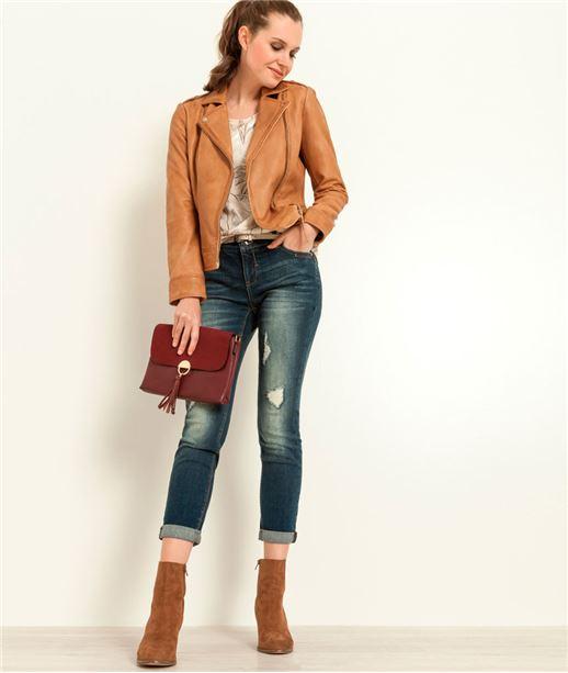 Blouson imitation cuir femme couleur camel