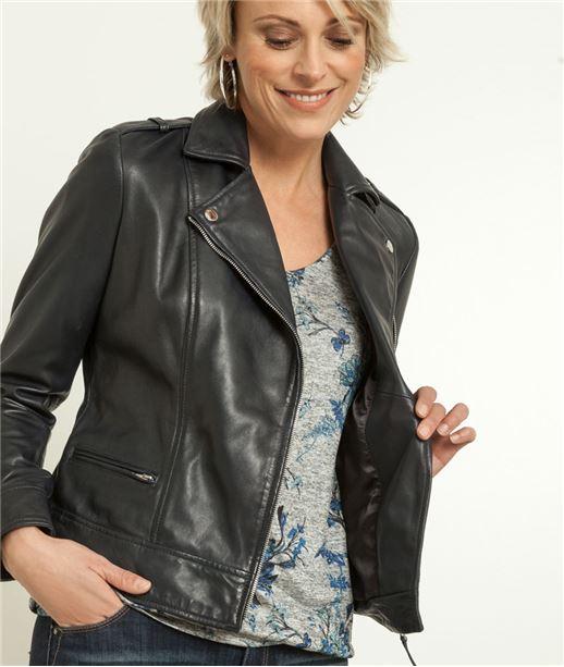 Veste femme style perfecto en cuir MARINE