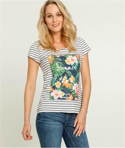 T-shirt femme rayé et patch imprimé BLANC CASSE